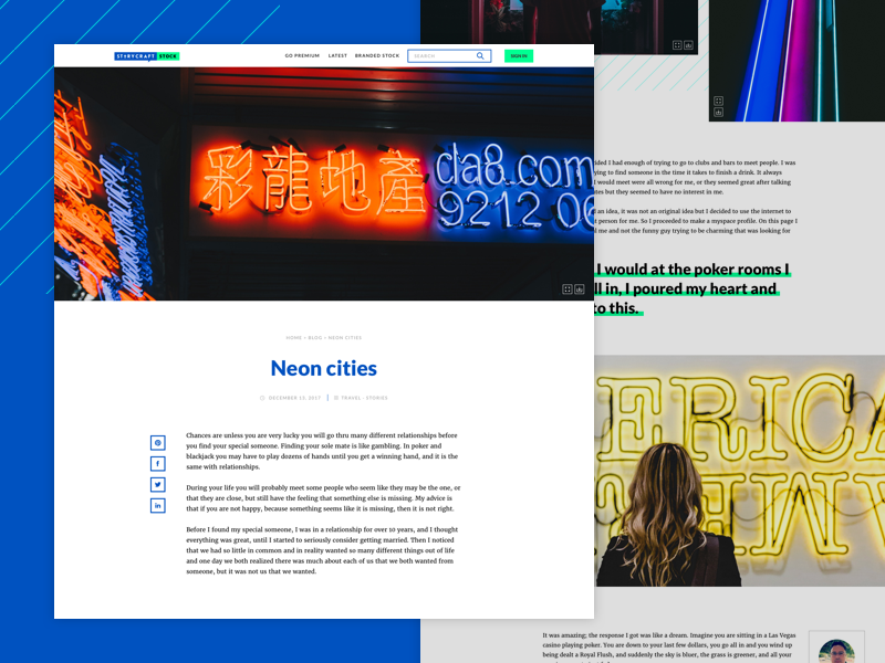 Blog Home Page ux ui modern medium neon storycraft article home page blog