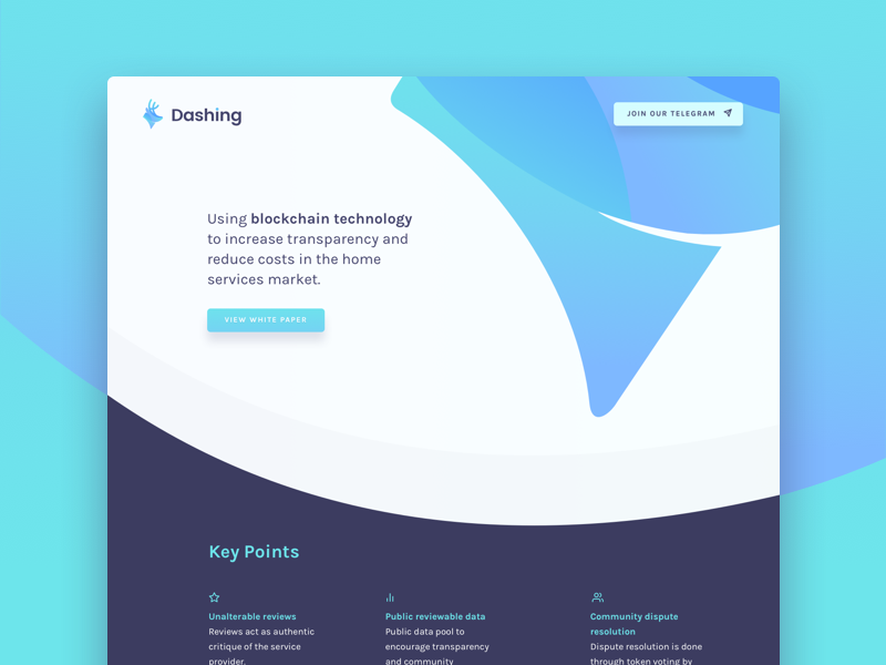 Dashing Landing Page token shapes ui ux home services technology ico blockchain dashing