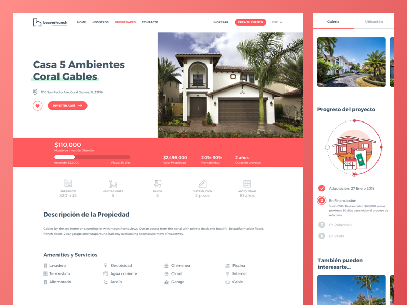Property Detail ui ux united states real state property investment ecommerce hunch beaver