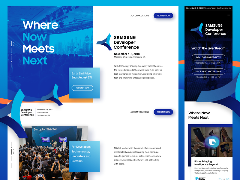 Samsung Developer Conference 2018 indicius website san francisco development design ui ux 2018 conference developer samsung sdc
