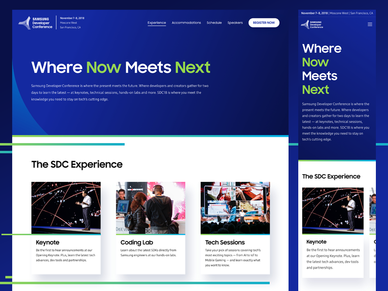 SDC 2018 - Experience Page 2018 experience development sdc conference developer samsung website design indicius ux ui