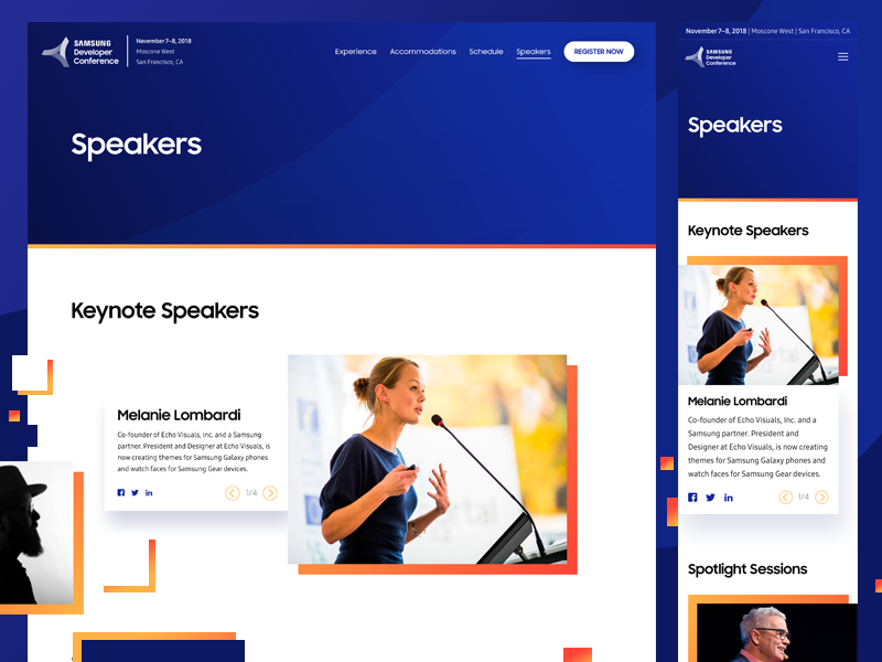SDC 2018 - Speakers Page development conference developer samsung sdc 2018 website design indicius ux ui