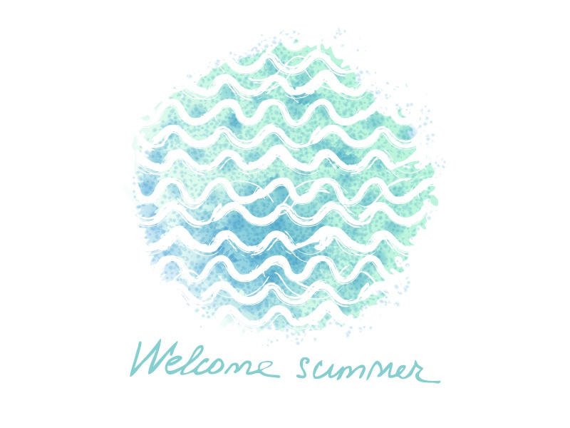 Free vector waves. Freebie circle free hand drawn turquoise sea welcome summer freebie spot watercolor vector waves
