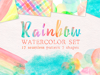 Rainbow watercolor collection paper background circle texture hand painted shapes watercolour seamless pattern watercolor rainbow