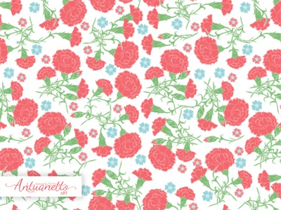 Vector Seamless Pattern with Carnations vector surface design seamless pattern carnations vintage folk flower floral design