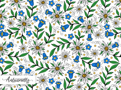 Vector floral seamless pattern folklore folk design surface floral flower pattern seamless vector edelweiss