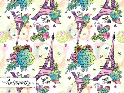 Love is in the air Vector seamless pattern surface love vector floral flower eiffel tower design surface design pattern seamless pattern