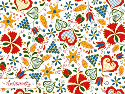 Vector Floral folklore seamless pattern vector surface design seamless seamless pattern pattern heart folklore folk flower floral