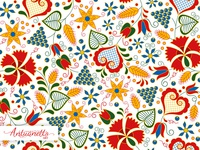 Vector Floral folklore seamless pattern