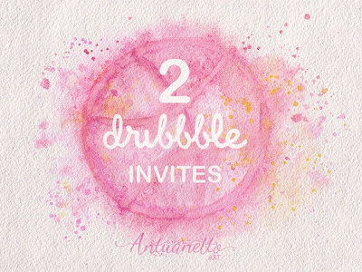 Two dribbble invites two invites dribbble invite illustration hand painted watercolor invitation pink invite invites dribbbleinvites dribbble