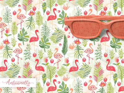 let's flamingle vector tropical collection greeting card vector pattern floral pattern pink flamingo print design pattern design tropical leaves flowers vector illustration seamless pattern surface design