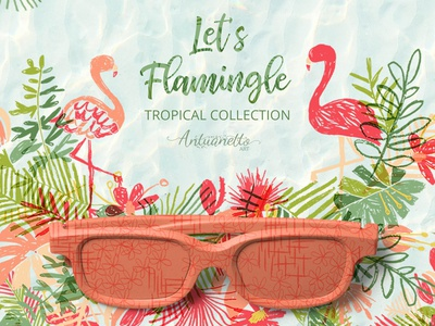 let's flamingle vector tropical collection