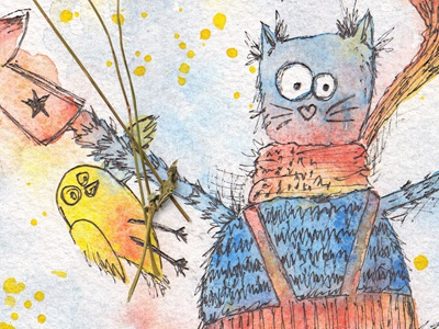 Cat. Character design hand drawn kids picture book childrens watercolour watercolor greeting card design character