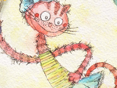 Cat. Character design watercolour watercolor picture kids hand drawn greeting card design childrens character cat