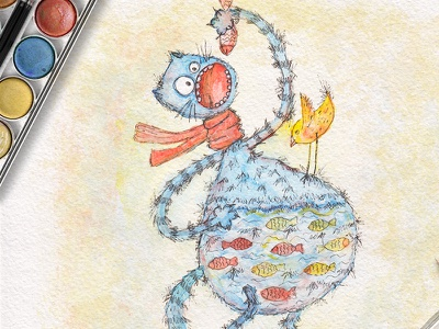 Сhildren's illustration about a cat of a glutton hand drawn book picture design character kids watercolor cat illustration сhildrens