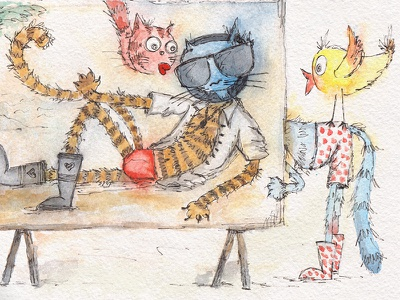 Сhildren's illustration about a cats. Macho cat)) caricature сhildrens watercolor picture kids illustration hand painting design character cat book