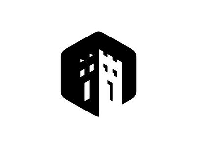 Castle Negative Space Logo simple black  white negative space logo negative space geometry exploration logo design brand aid business logo branding