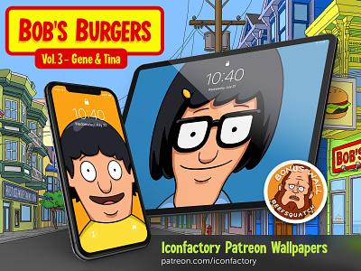 Bob's Burgers Vol. 3 Wallpapers ios macos desktop wallpaper tina belcher gene belcher iphone ipad iconfactory gedeon maheux cartoon bobs burgers animation