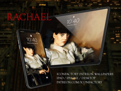 Rachael Wallpaper digital painting science fiction macos ios digital illustration wallpaper painting portrait bladerunner sci-fi scifi patreon iconfactory dave brasgalla