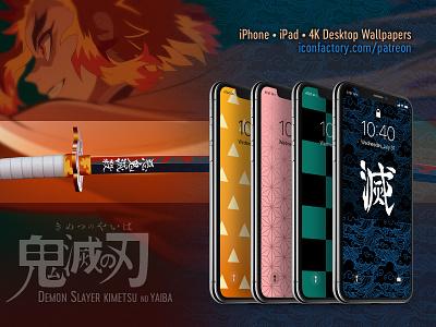 Demon Slayer Wallpapers iconfactory tile pattern wallpaper patreon demon slayer anime
