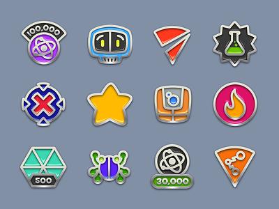 Frenzic: Overtime Achievement Icons metallic iconography achievement game illustration design iphone icon ios iconfactory