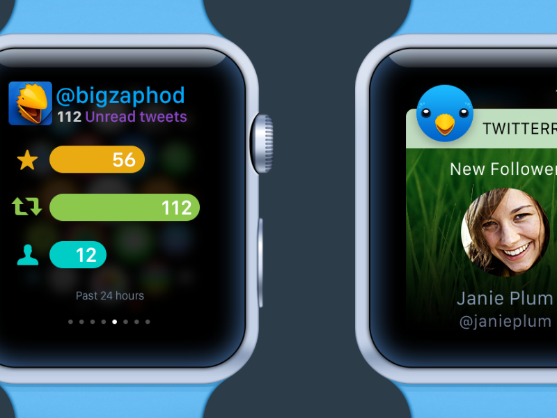 Twitterrific for Apple Watch iconfactory apple watch ui twitter social interface graph