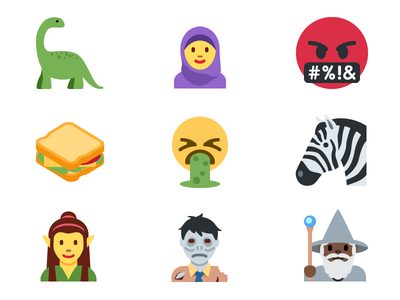 Twitter Unicode 10 Emoji dinosaur elves zebra zombie web twitter social mobile iconfactory icon emoji
