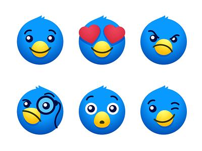 Olliemoji icon set emoji set branding vector illustration bird illustration twitter bird blue stickers ollie chat social media playful cute icons emoji twitterrific iconfactory