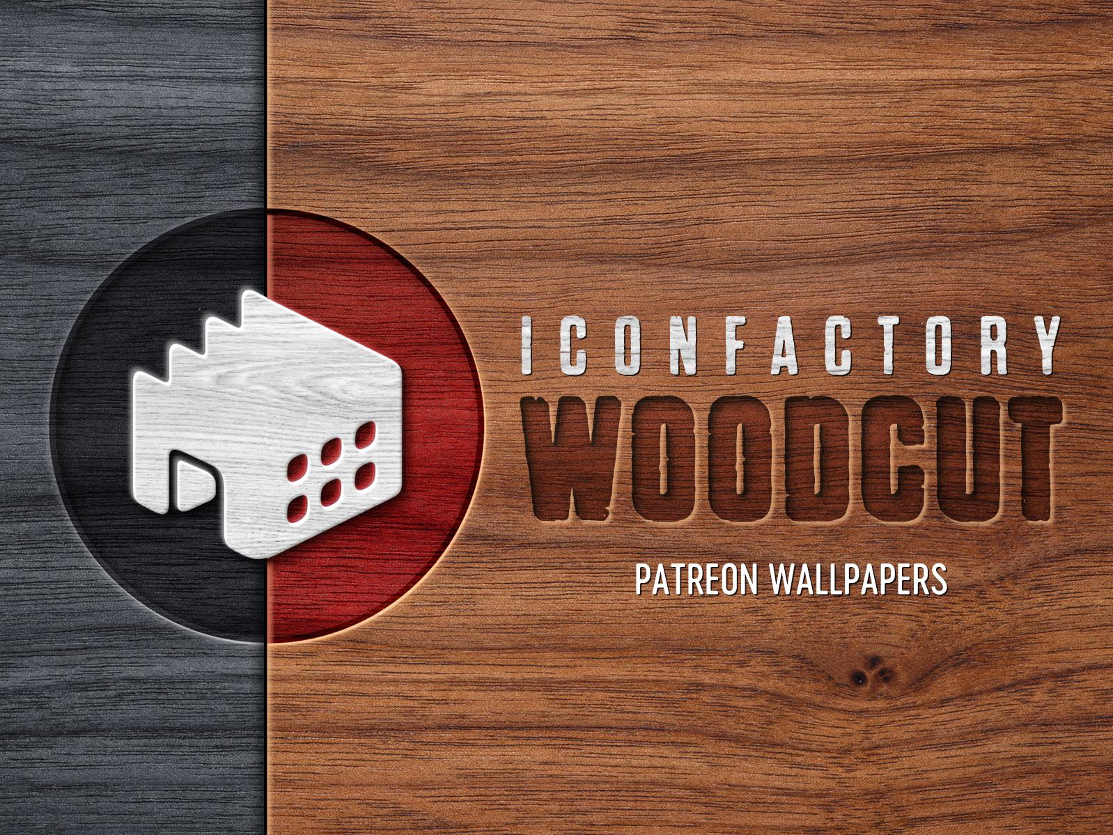 Iconfactory Woodcut Wallpapers patreon logo branding organic wood natural iphone ipad desktop wallpaper desktop iconfactory