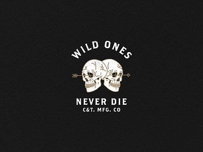 WILD ONES NEVER DIE skulls branding illustration design