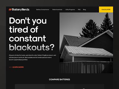 Solar Energy: Website enviroment enegry solar panel simple house vector minimal ui branding interface design