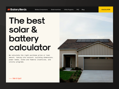 Solar Energy: Calculator Page design inteface branding ui minimal vector house simple solar battery solar panel energy enviroment