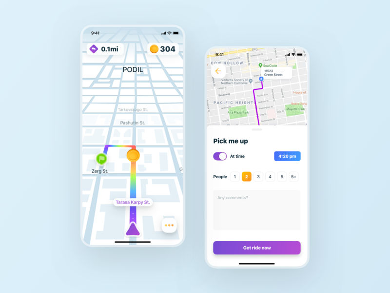 Ride Sharing iOS App navigation map route coins interface game road taxi app taxi ride design ui appdesign app ios