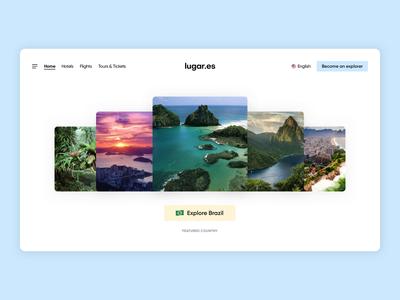 Travel website animation search minimalist whitespace photo brazil design ui animation website travel