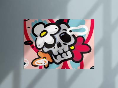 I'm good pop art skull poster illustration