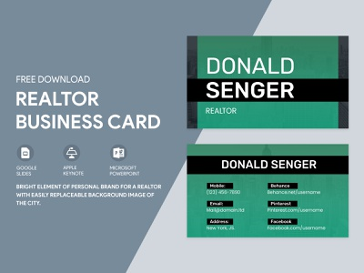 Realtor Business Card Free Google Docs Template document word print real estate realtor visiting visit personal docs green cards card business templates template google freebie free doc design