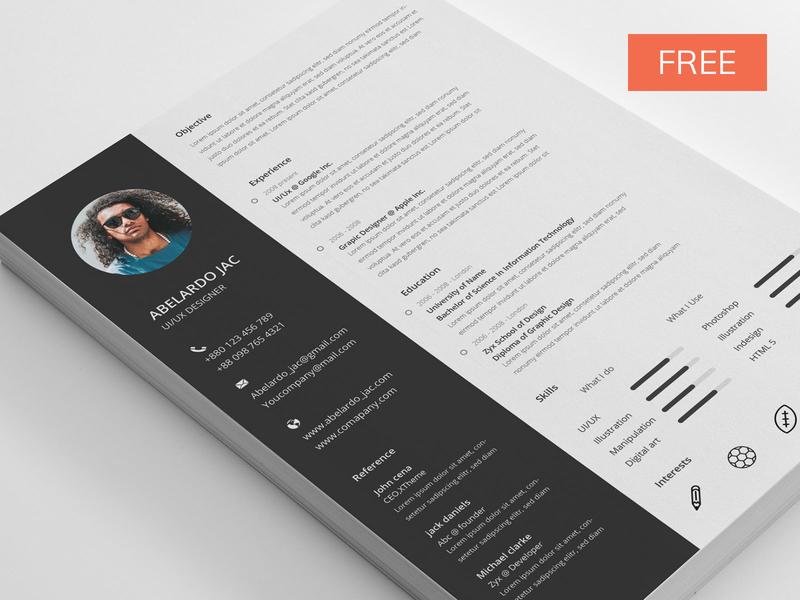 Free Resume Template psdwings psd resume free resume letter template design cv