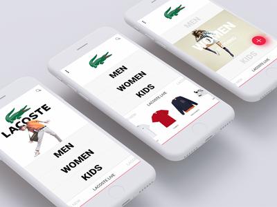 Lacoste Mobile app algeria tunisia gmarellile ayouni mongi fashio shoes sport wears lacoste android ios ux ui