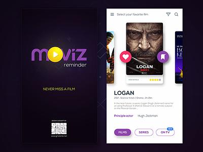 Moviz Film Reminder movies gmarellile mongi ayouni tunisia cinema reminder calendar user interface user experience ux ui
