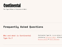 Continental Type Co. Landing Page