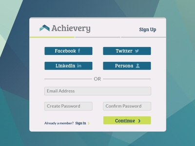 Achievery Sign Up modal ui sign up sign in