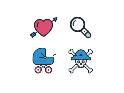 More WoM Icons pirate hat skull pirate stroller baby magnifying glass search heart foodie icons