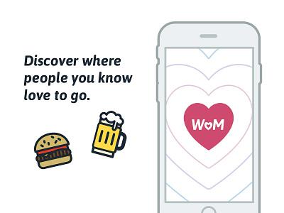 Introducing WoM ui app food burger beer foodie