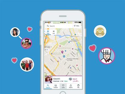 WoM Default Map Screen result ui app search restaurant map foodie food