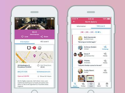 WoM Place Profile, Info & Love Screens social media social network love follow user list information profile ui app restaurant foodie food