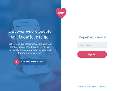 WoM Site Launch! love bars restaurants foodie beta responsive ui form video marketing website app