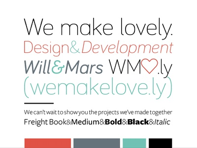 We Make Lovely - type & color explorations  branding type color love lovely heart bariol freight