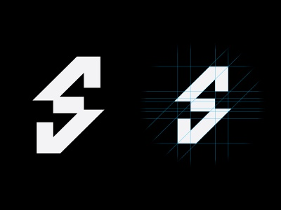S branding symbol mark logo sport construction logo construction grid monogram lettermark lettering letter