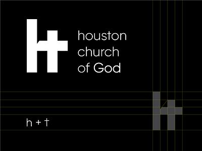 houston chuch of god monogram logo minimal branding symbol mark logo christianity religion god cross chuch monogram