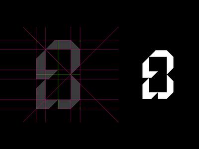 B + LL ux ui guide construction grid monogram logo monogram brand identity brand branding symbol mark logo